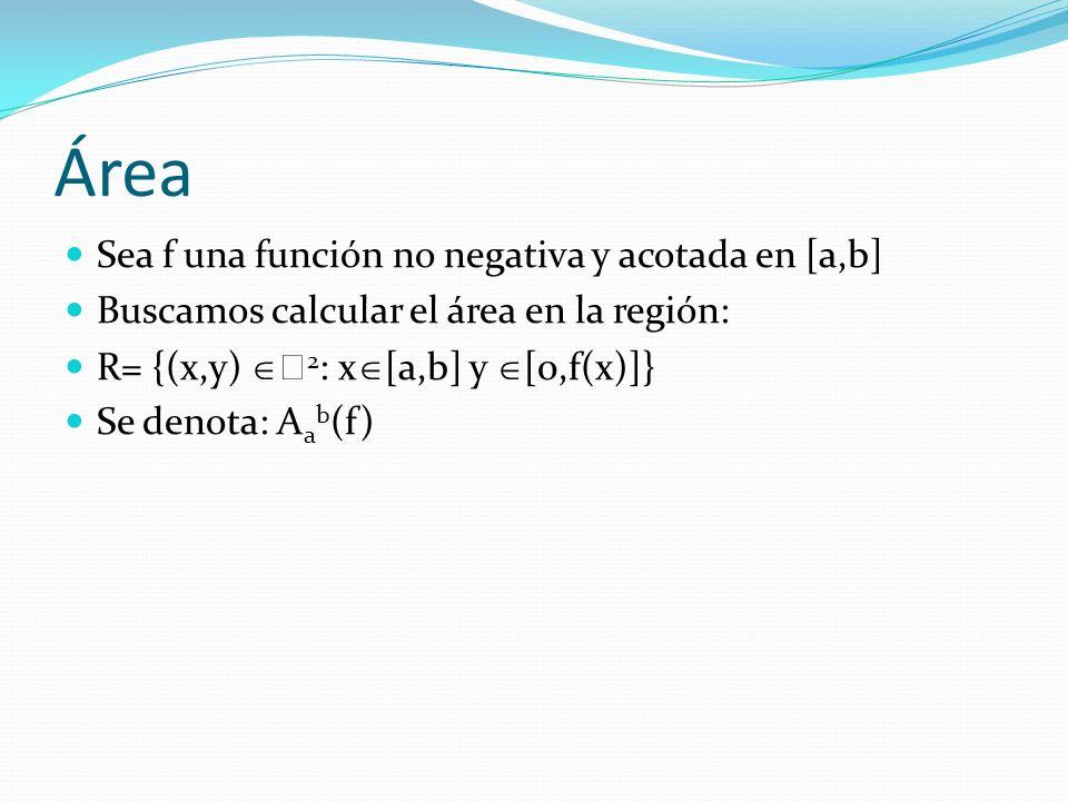 Área Sea f una función no negativa y acotada en [a,b]